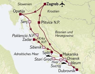 Autoreise Kroatiens Küsten & Meer