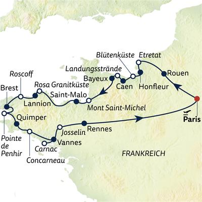 Autoreise Highlights der Normandie & Bretagne