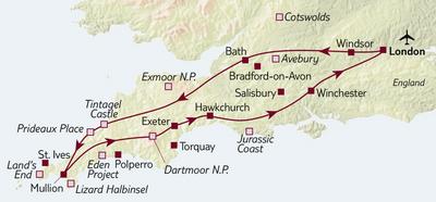 Autoreise Ferienhaus-Urlaub in Südengland - Tour A