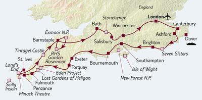 Autoreise Von Kent bis Cornwall