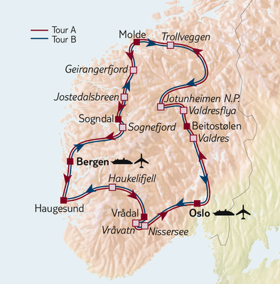 Autoreise Highlights der Fjorde - Tour A ab/bis Bergen