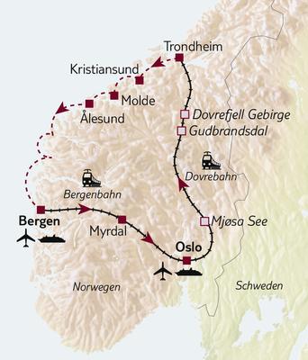 Bahn-/Schiffsreise Norwegens Vielfalt per Bahn & Hurtigruten - Tour A ab/bis Bergen