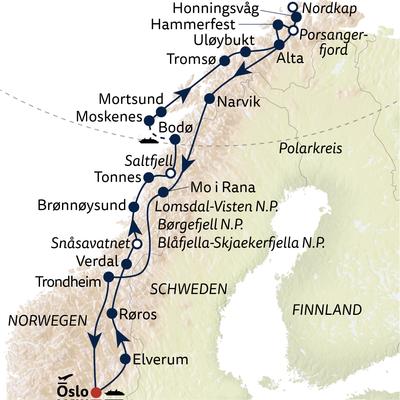 Auto-/Schiffsreise Grand Tour Norwegen