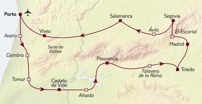Autoreise Von Porto bis Madrid