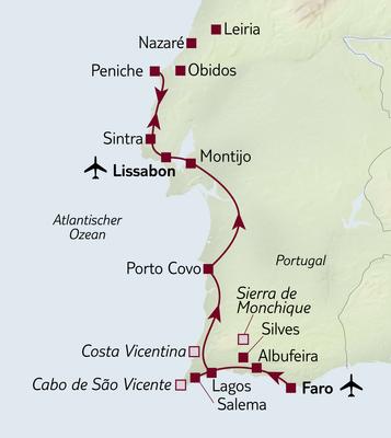 Autoreise Ferienhaus-Urlaub in Portugal