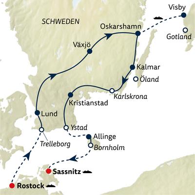 Autoreise Sonneninseln der Ostsee Tour A