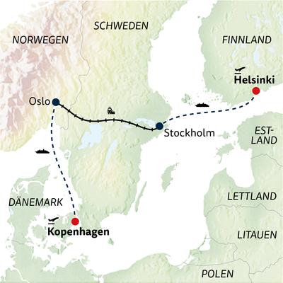 Bahn-/Schiffsreise Skandinaviens Hauptstädte per Bahn & Schiff