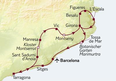 Autoreise Barcelona, Küsten & Hinterland