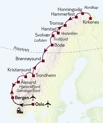 Hurtigruten Gruppenreise Facettenreiches Norwegen