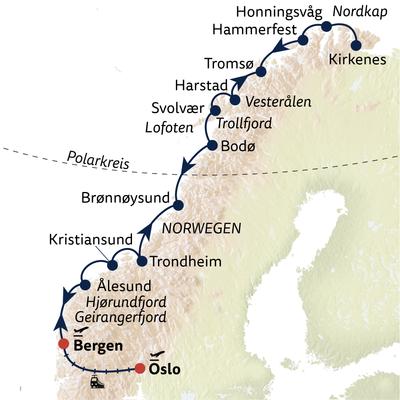 Hurtigruten Gruppenreise Facettenreiches Norwegen